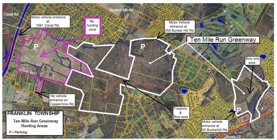 10 mile run hunting map Griggstown & Bunker Hill-1