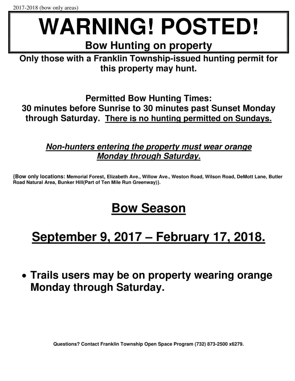 Posting edge, hunting sign, bow only areas 2017 to 2018 Black FINAL-1